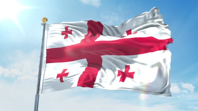 Georgia flag waving in the wind against deep blue sky. National theme, international concept. 3D Render Seamless Loop 4K Georgia flag waving in the wind against deep blue sky. National theme, international concept. 3D Render Seamless Loop 4K allegory painting stock videos & royalty-free footage