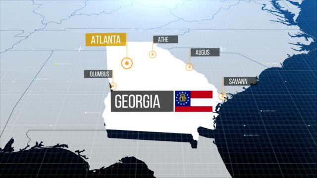 vídeos de stock, filmes e b-roll de mapa do estado da geórgia com a gravadora então com para fora a etiqueta - capitais internacionais