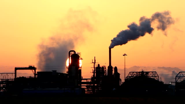 Geothermal Power Plant at Sunrise Sun Low video