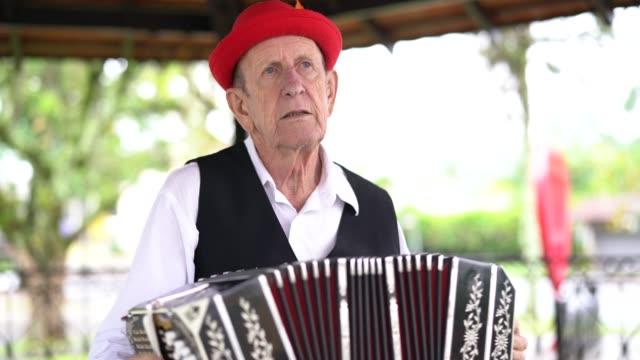 german descent senior man playing accordion in blumenau, santa catarina, brazil - oktoberfest stock videos and b-roll footage