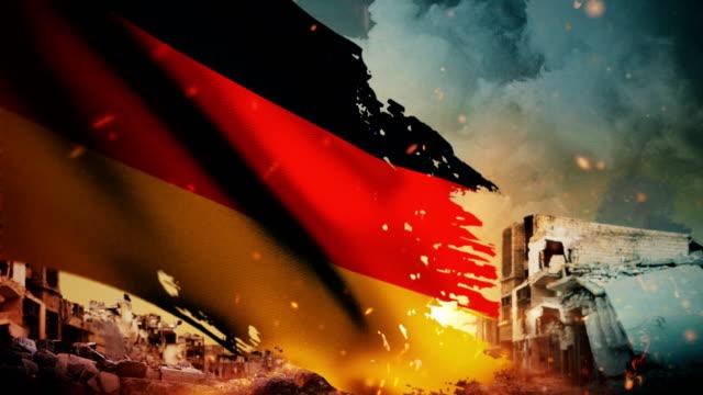 vidéos et rushes de drapeau allemand 4k - crise / guerre / fire (boucle) - première guerre mondiale