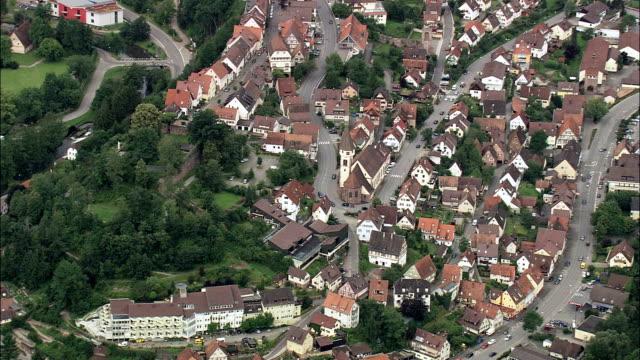 German village - Aerial View - Baden-Württemberg,  Regierungsbezirk Stuttgart,  Landkreis Böblingen helicopter filming,  aerial video,  cineflex,  establishing shot,  Germany video