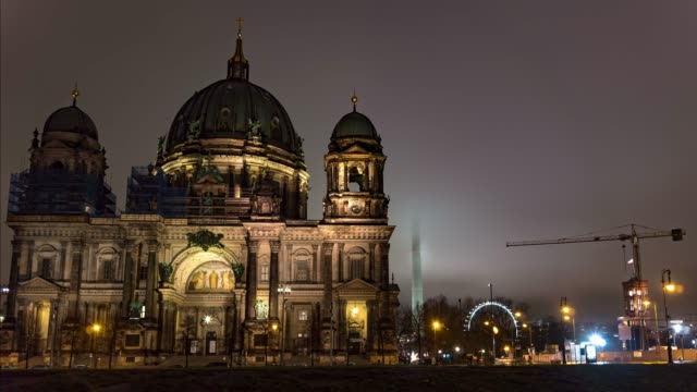 Germany. Berlin winter night time lapse of Berlin Cathedral