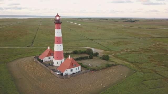 Germany Westerheversand Lighthouse Drone Orbiting Flight Northern Friesland