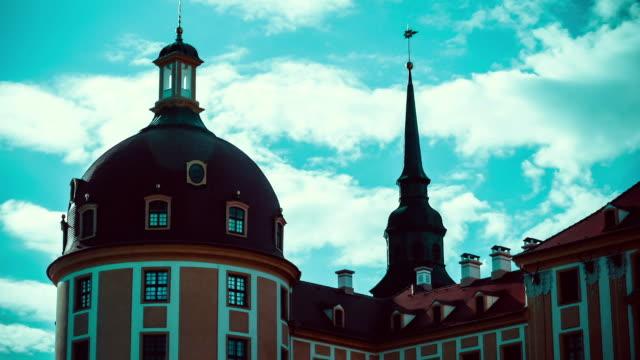 Germany-Moritzburg Palace 2016: Schloss Moritzburg near Dresden, evening, timelaps of clouds video