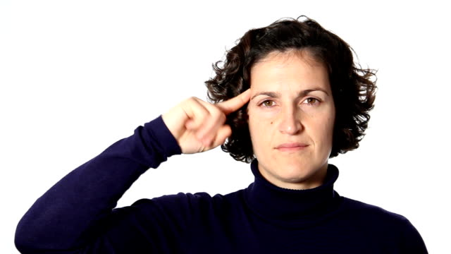 Gesture crazy Woman shows gesture crazy middle finger stock videos & royalty-free footage