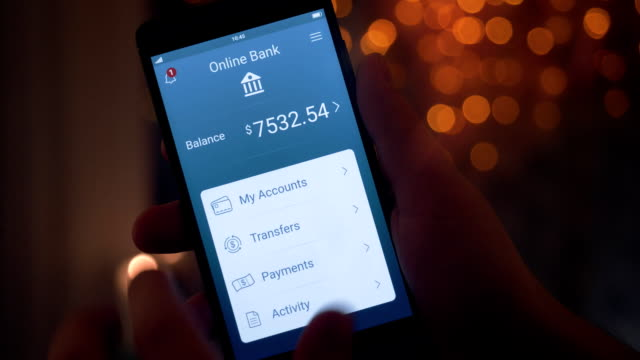 getting payment on the banking app - online banking video stock e b–roll