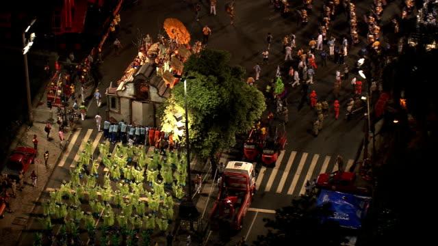준비를 사육제 퍼레이드-공중 뷰-리우데자네이루, 브라질 리우데자네이루 - 사육제 스톡 비디오 및 b-롤 화면