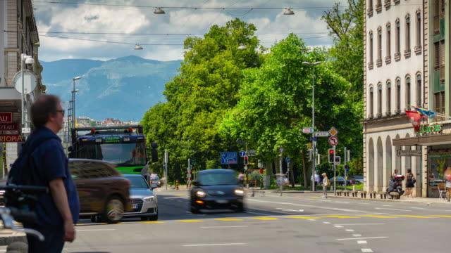 geveva city center sunny day traffic street panorama 4k timelapse switzerland