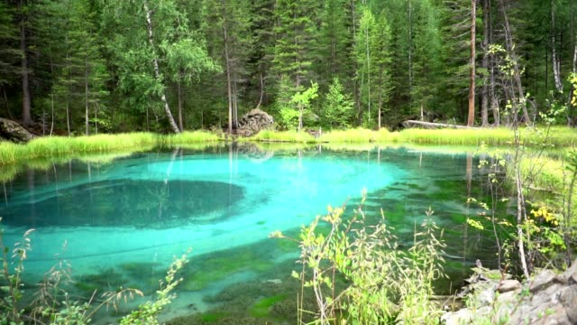 geyser lake in Altai in Russia video