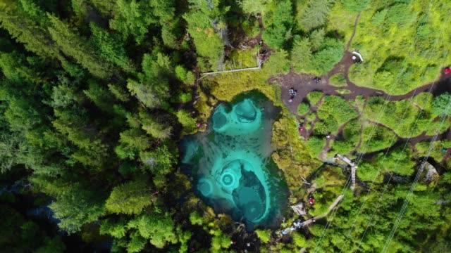 Geyser lake with thermal springs