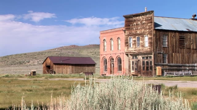 Ghost Town Hotel Dechambeau Hotel and I.O.O.F. (Independent Order of Odd Fellows) Buildings in the ghost town of Bodie  wild west stock videos & royalty-free footage