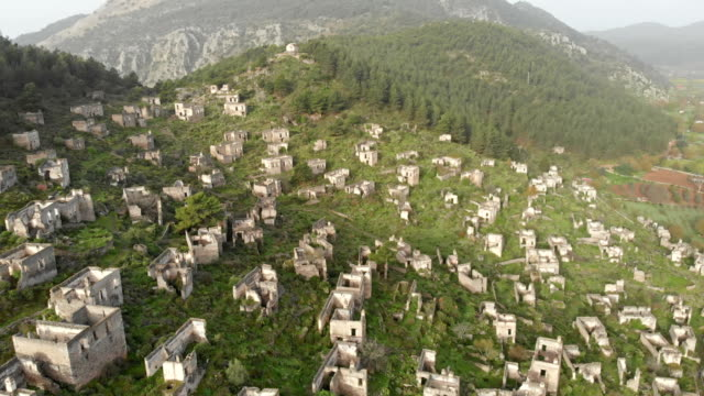 ghost town kayakoy in fethiye - fethiye video stock e b–roll