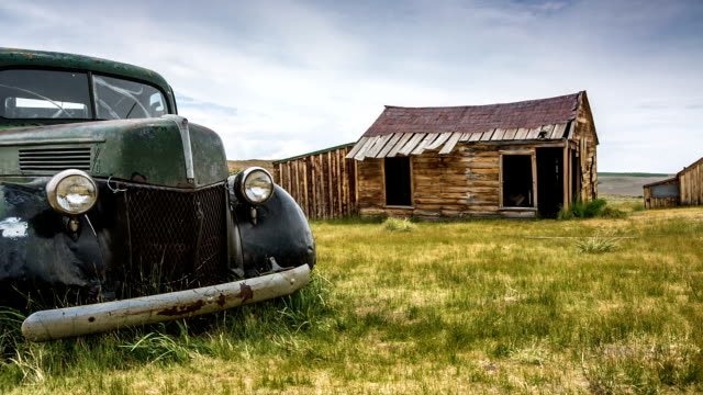 Ghost Town Rusty Car in Bodie Ghost Town California  barns stock videos & royalty-free footage