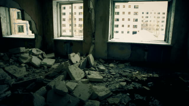 Ghost town A damaged building in an abandoned city earthquake stock videos & royalty-free footage