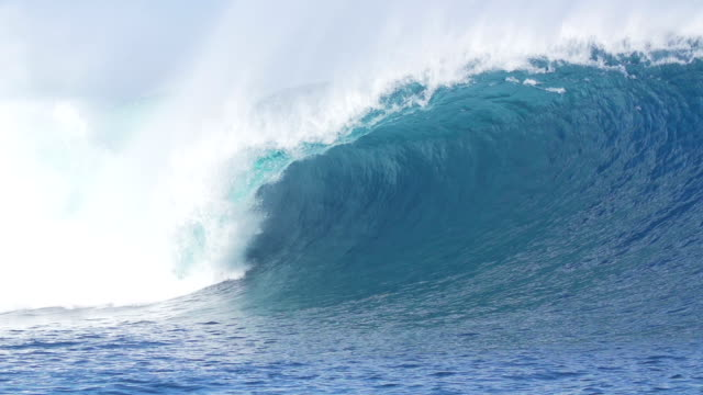 Giant Blue Ocean Wave Crashing In Slow Motion video