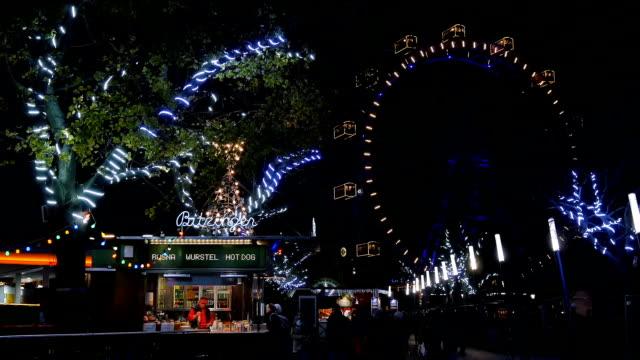 Giant ferris wheel at night - Prater amusement park, Vienna video