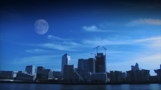 Giant Moon City Skyline HD video