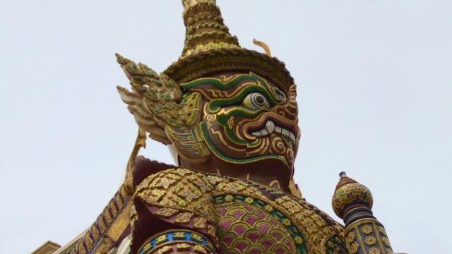 Giant Statue At Wat Phra Kaew ( Temple Of Emerald Buddha ) Bangkok , Thailand video