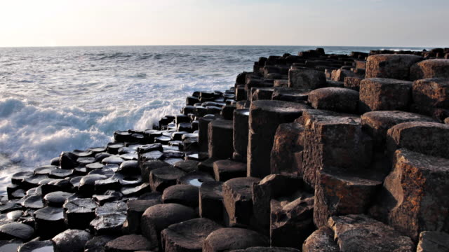 giant's causeway in northern ireland - rock formations stock videos & royalty-free footage