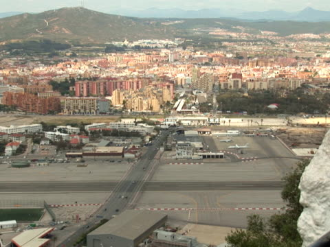 Gibraltar - border crossing and airport Gibraltar uk border stock videos & royalty-free footage