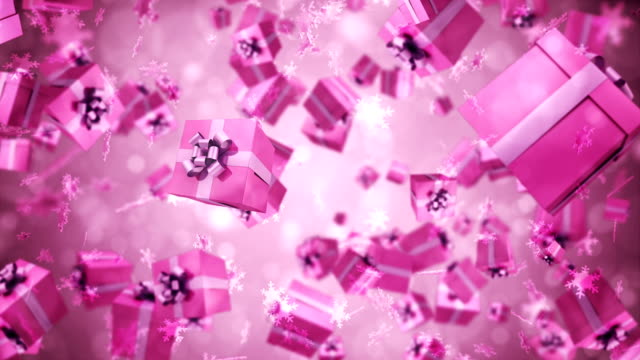 Gift Box Animation 3d render Gift Box Pink Animation (Depth Of field) birthday background stock videos & royalty-free footage