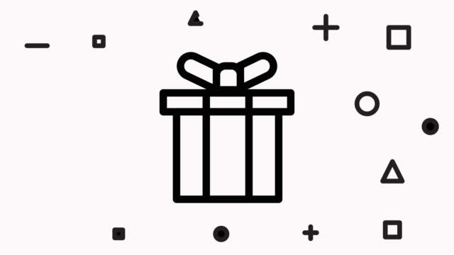 アルファ付きギフト ボックス アイコン アニメーション - アイコン プレゼント点の映像素材/bロール