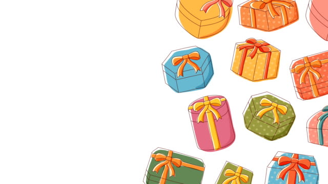 geschenk box symbol bewegten muster hintergrund cartoon kinder hand zeichnung illustration, happy birthday konzept entwerfen isolierten auf weißen hintergrund nahtlose schleife animation 4k, mit kopie des rechenzentrums - kind isometric stock-videos und b-roll-filmmaterial
