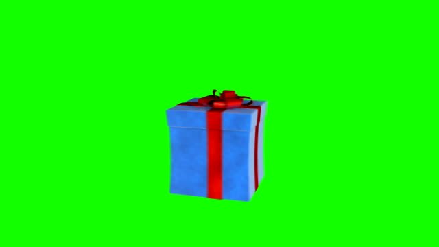 vídeos de stock e filmes b-roll de gift box jiggling to release a virtual product, loop, green screen chromakey - gift box