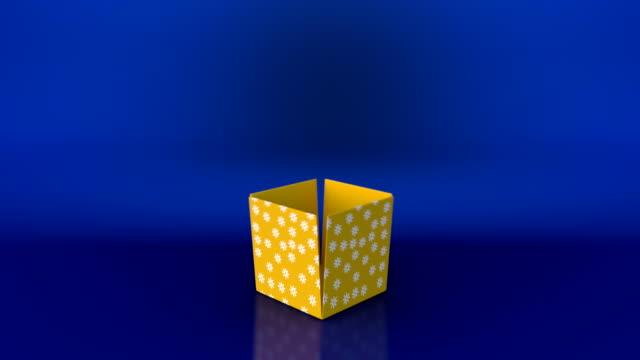 presentbox öppna animering och zooma in kameran åtgärd - blue yellow band bildbanksvideor och videomaterial från bakom kulisserna