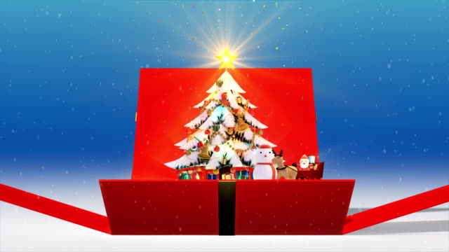 Gift Box Opening Christmas tree background, decorated xmas tree with gift boxes and Santa Claus happy and Deers, Animated abstract Christmas present greeting post card, 4k Gift Box Opening Christmas tree background, decorated xmas tree with gift boxes and Santa Claus happy and Deers, Animated abstract Christmas present greeting post card, 4K opening event stock videos & royalty-free footage
