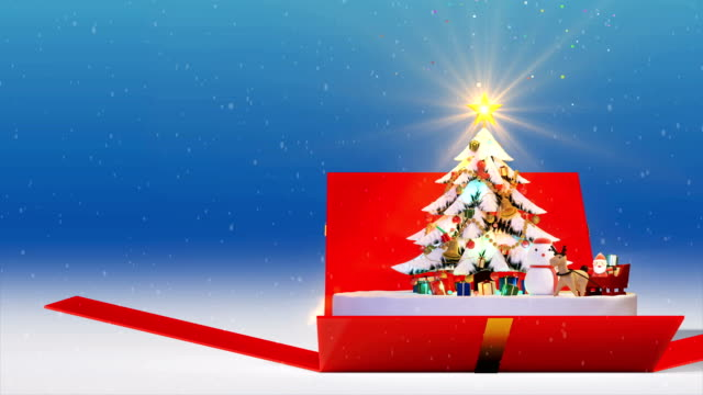 Gift Box Opening Christmas tree background, decorated xmas tree with gift boxes and Santa Claus happy and Deers, Animated abstract Christmas present greeting post card, 4k loop video