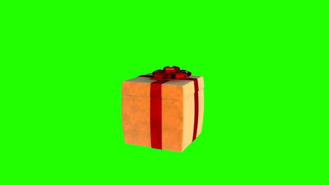 オープンギフトボックス蓋の仮想製品を提示するには、緑色の画面 - プレセントの箱点の映像素材/bロール