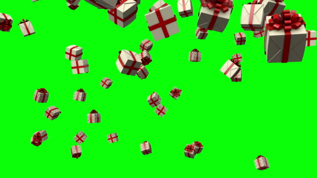 vídeos de stock e filmes b-roll de gift boxes falling from the sky on a green screen - gift box