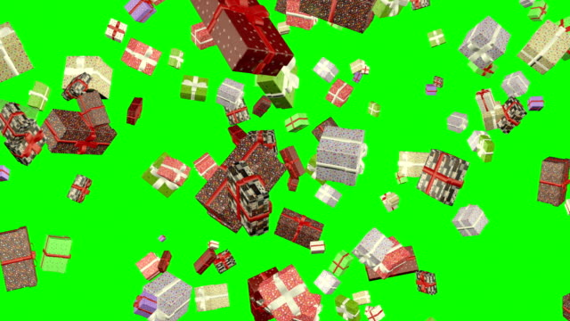 Gift Boxes Falling Loop Animation Green Screen