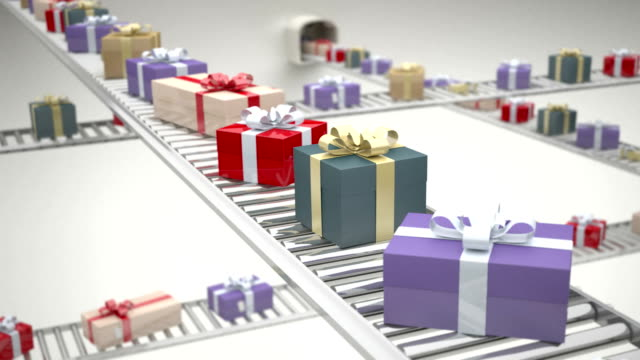 Gift boxes on conveyor belt video