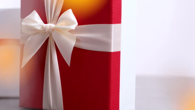 Gift Boxes With Magic Bokeh On Foreground- 4K