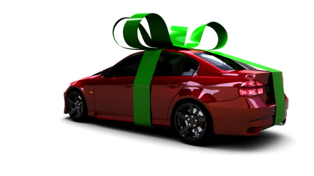 Gift car wrapped in ribbons video