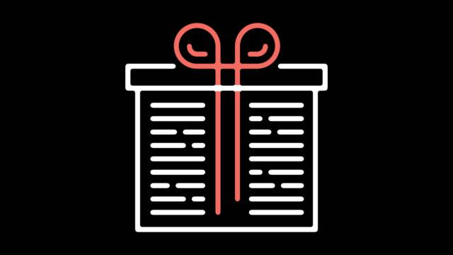 アルファ付きギフト パック ライン、アイコン アニメーション - アイコン プレゼント点の映像素材/bロール