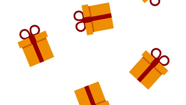 Bидео Giftboxes falling background HD animation