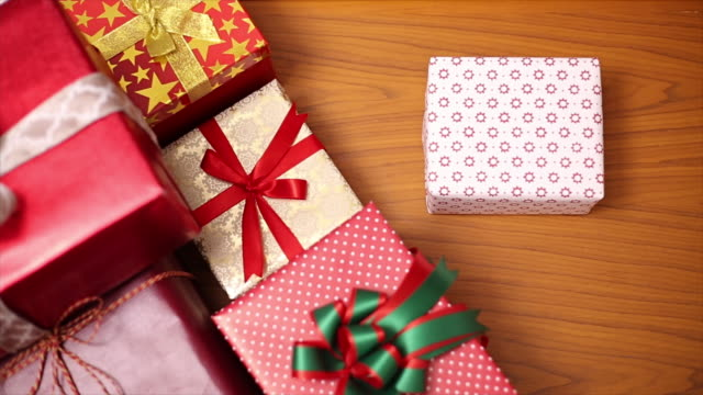 Gifts stack for Christmas day video
