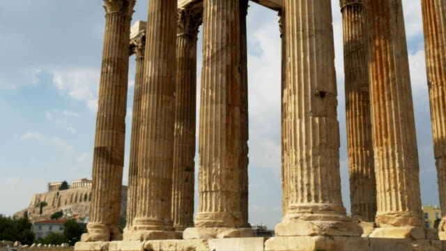 gimbal reveal of the acropolis at the temple of zeus athens, greece video