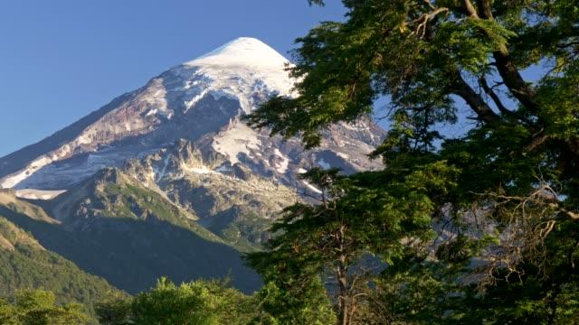 Gimbal shot of Lanin volcano in Lanin national park. Argentina, Patagonia, Lake district. UHD 4K
