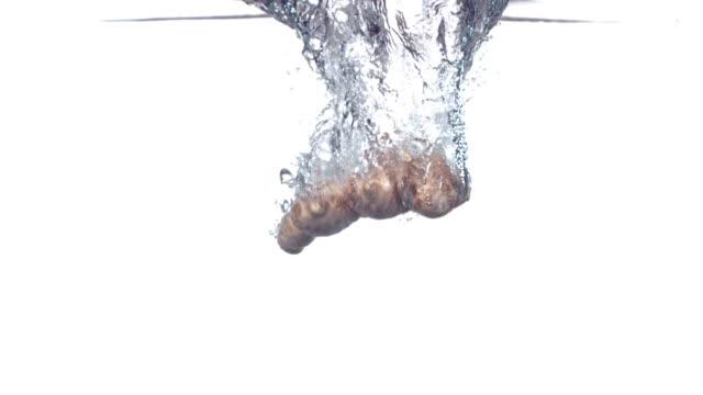 Ginger root splashing into water, slow motion