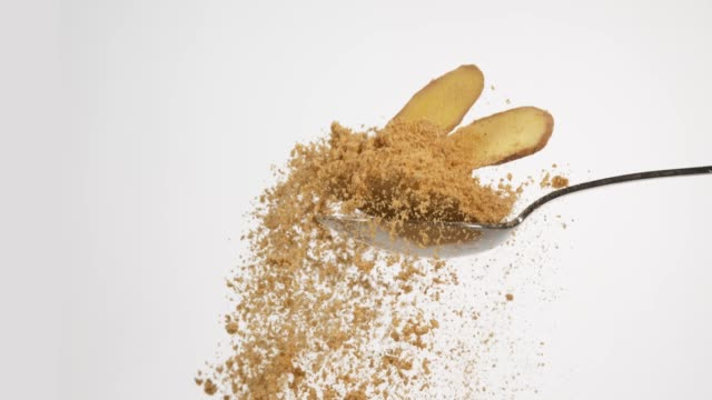 Ginger, Zingiber officinale, Root and Powder against White Background, Slow Motion 4K Ginger, Zingiber officinale, Root and Powder against White Background, Slow Motion 4K ginger spice stock videos & royalty-free footage