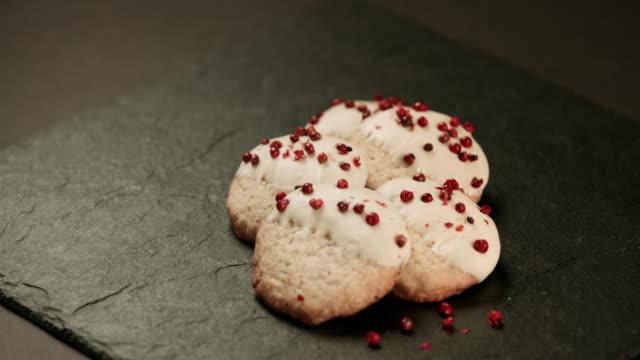 Gingerbread Christmas Cookies on black rustic wooden table video