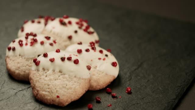 Gingerbread Christmas Cookies on black rustic wooden table