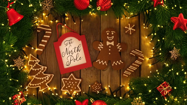 Gingerbread cookies and christmas Decoration on wooden rustic table Gingerbread cookies and christmas Decoration on wooden rustic table gingerbread man stock videos & royalty-free footage