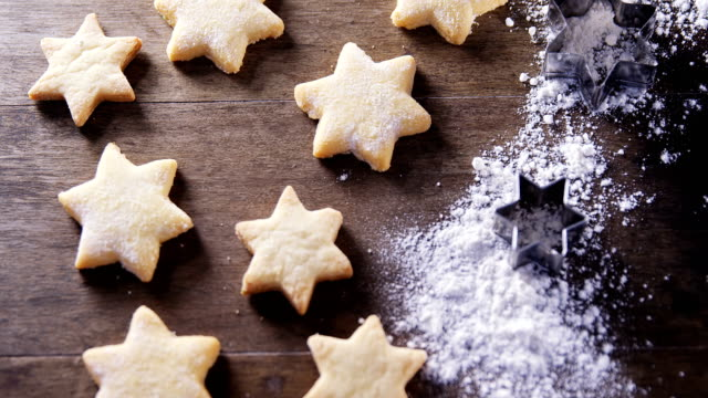 Gingerbread cookies with powdered sugar sprinkled on top 4k Close-up of gingerbread cookies with powdered sugar sprinkled on top 4k gingerbread man stock videos & royalty-free footage