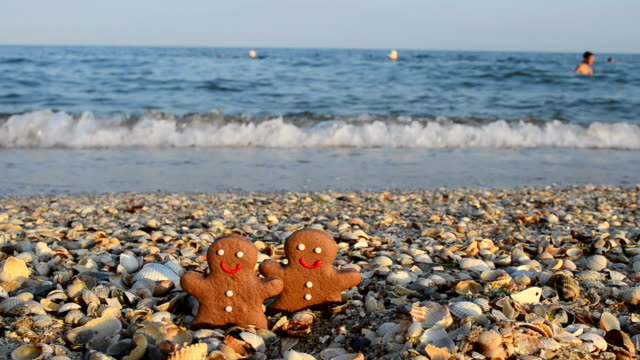 Gingerbread little men on the beach. Shooting in the summer. gingerbread man stock videos & royalty-free footage